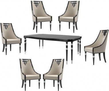 Casa Padrino Luxus Art Deco Esszimmer Set Beige / Schwarz / Silber - 1 Esszimmertisch & 6 Esszimmerstühle - Art Deco Esszimmer Möbel - Luxus Qualität
