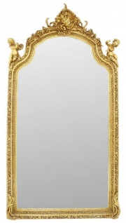 Casa Padrino Barock Spiegel Gold 115 x H. 210 cm - Prunkvoller Wandspiegel im Barockstil - Antik Stil Garderoben Spiegel - Wohnzimmer Spiegel - Barock Möbel