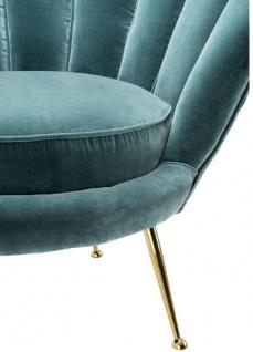 Casa Padrino Designer Wohnzimmer Sessel Dunkeltürkis / Messingfarben 96, 5 x 79 x H. 78 cm - Luxus Wohnzimmermöbel - Vorschau 5