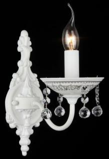Casa Padrino Barock Kristall Wandleuchte Weiß 13 x H 28 cm Antik Stil - Wandlampe Wand Beleuchtung