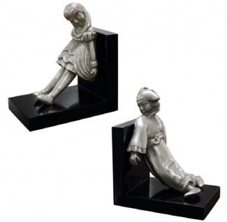 Casa Padrino Luxus Buchstützen Set Mädchen & Clown Silber / Schwarz 14 x 10 x H. 17 cm - Versilberte Deko Bronzefiguren mit Holzsockel