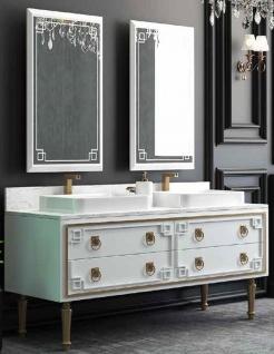 Casa Padrino Luxus Badezimmer Set Weiß / Gold - 1 Waschtisch mit 4 Schubladen und 2 Waschbecken und 2 Wandspiegel - Luxus Badezimmermöbel