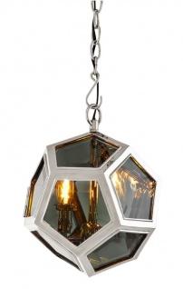 Casa Padrino Luxus Hängeleuchte in silber mit Rauchglas 30 x H. 32 cm - Luxus Kollektion