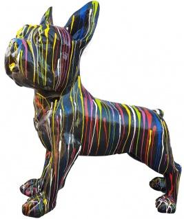 Casa Padrino Designer Deko Hund Bulldogge Schwarz / Mehrfarbig 178 x H. 178 cm - Riesige Dekofigur - Gartendeko Skulptur - Gartenfigur