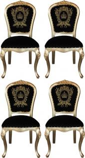 Pompöös by Casa Padrino Luxus Barock Esszimmerstühle mit Krone Schwarz / Gold - Pompööse Barock Stühle designed by Harald Glööckler - 4 Esszimmerstühle