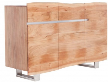 Casa Padrino Designer Sideboard Natur B.135 x H.88 x T.42 - Fernsehschrank - Kommode - Handgefertigt aus massivem Akazienholz!