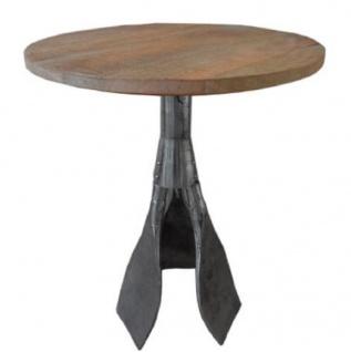 Casa Padrino Designer Beistelltisch Braun / Silber Ø 59 x H. 74 cm - Runder Tisch mit Paddelbeinen