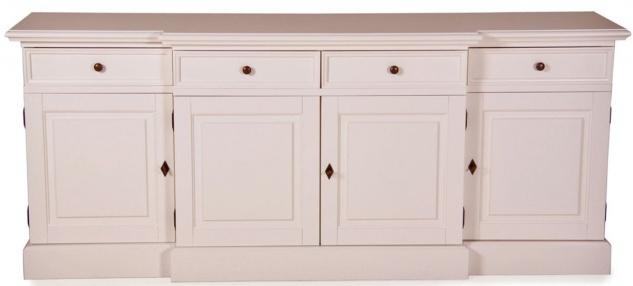 Casa Padrino Shabby Chic Landhaus Stil Kommode Weiß B 217 cm - H 90 cm Möbel Diele Esszimmer Schrank