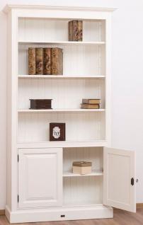 Casa Padrino Landhausstil Bücherschrank / Regalschrank Weiß 110 x 39 x H. 210 cm - Wohnzimmerschrank mit 2 Türen - Vorschau 2