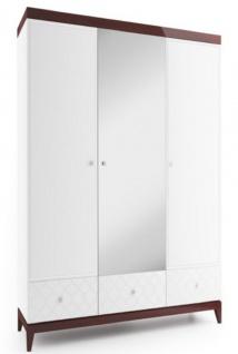 Casa Padrino Luxus Kleiderschrank Weiß / Hochglanz Braun 171, 4 x 60 x H. 205 cm - Massivholz Schlafzimmerschrank mit Spiegel - Schlafzimmermöbel
