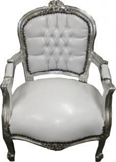 Barock Kinder Stuhl Weiß/Silber - Armlehnstuhl - Vorschau