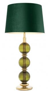 Casa Padrino Luxus Tischleuchte Grün / Gold Ø 50 x H. 105 cm - Wohnzimmer Tischlampe mit mundgeblasenem Glas