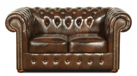 Casa Padrino Echtleder 2er Sofa Dunkelbraun 160 x 90 x H. 78 cm - Luxus Qualität