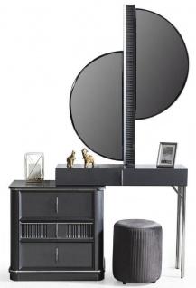 Casa Padrino Luxus Schlafzimmer Schminktisch Set Grau / Silber - 1 Schminkkommode mit Spiegel & 1 Hocker - Luxus Schlafzimmer Möbel - Vorschau 1