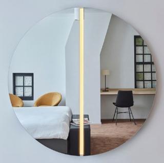 Casa Padrino Luxus Spiegel Ø 150 cm - Runder Wandspiegel mit LED Streifen - Wohnzimmer Hotel Restaurant Boutique Spiegel