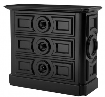 Casa Padrino Schrank mit 3 Schubladen Schwarz - Luxus Qualität