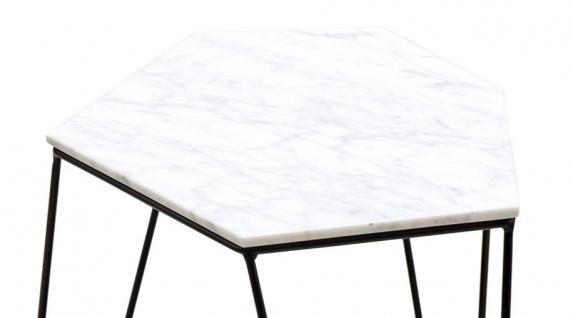 Casa Padrino Designer Couchtisch Weiß / Schwarz 64 x 48 x H. 40 cm - Luxus Wohnzimmertisch mit Marmorplatte - Vorschau 2