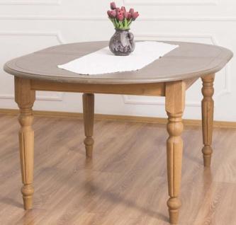 Casa Padrino Landhausstil Esstisch Grau / Hellbraun 160 x 120 x H. 78 cm - Ovaler massivholz Küchentisch mit Eichenholz Tischplatte
