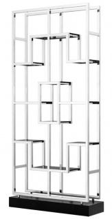 Casa Padrino Luxus Wohnzimmer Regalschrank Silber / Schwarz 108 x 29 x H. 240 cm - Luxus Möbel