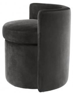 Casa Padrino Designer Sessel Dunkelgrau 61 x 57 x H. 64 cm - Runder Samt Sessel - Luxus Möbel - Vorschau 4