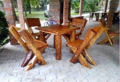 Casa Padrino Gartenmöbel Set Rustikal Tisch + 4 Garten Stühle - Eiche Massivholz - Echtholz Möbel Massiv - Vorschau 1