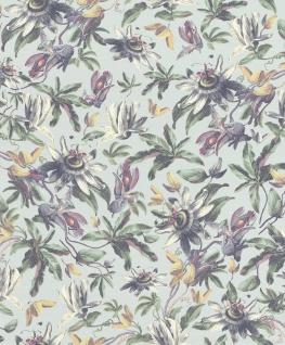 Casa Padrino Luxus Papiertapete Pflanzen Hellblau / Mehrfarbig - 10, 05 x 0, 53 m - Tapete Mustertapete Botanisch Blumen