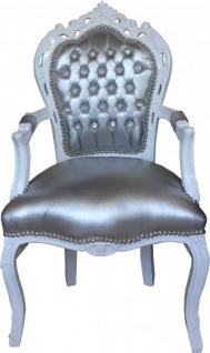 Casa Padrino Barock Esszimmer Stuhl mit Armlehnen Silber/Weiss Lederoptik mit Bling Bling Glitzersteinen