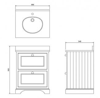Casa Padrino Waschschrank / Waschtisch mit Marmorplatte und 2 Schubladen 67 x 55 x H.93 cm - Vorschau 4