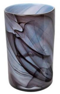 Casa Padrino Luxus Blumenvase Blau / Schwarz Ø 25 x H. 42 cm - Design Glas Vase