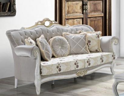 Casa Padrino Barock Wohnzimmer Sofa mit Glitzersteinen und Blumenmuster Hellgrau / Creme / Beige / Weiß / Gold 215 x 80 x H. 120 cm - Barock Möbel