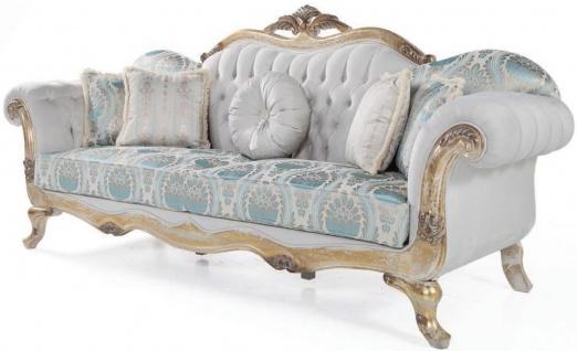 Casa Padrino Luxus Barock Samt Sofa mit Kissen Grau / Türkis / Antik Gold 252 x 82 x H. 115 cm - Wohnzimmer Möbel im Barockstil