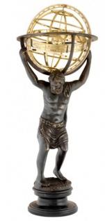 Casa Padrino Luxus Bronze Figur Atlas mit Globus auf Natursteinsockel - Skulptur
