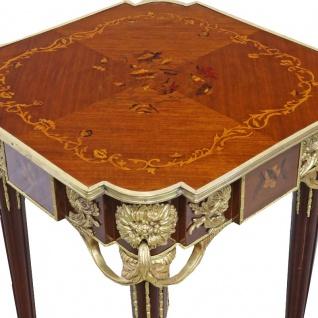 Casa Padrino Barock Beistelltisch Mahagoni Intarsien / Gold H75 x 50 cm - Ludwig XVI Antik Stil Tisch - Möbel - Vorschau 3