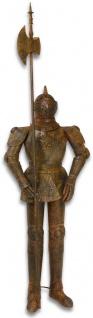 Casa Padrino Ritterrüstung mit Lanze Antik Braun H. 215 cm - Mittelalter Deko Eisen Rüstung in Rostoptik