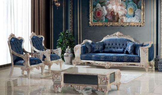 Casa Padrino Luxus Barock Wohnzimmer Set Blau / Creme / Kupfer / Gold - 2 Sofas & 2 Sessel & 1 Couchtisch - Handgefertigte Wohnzimmer Möbel im Barockstil - Edel & Prunkvoll