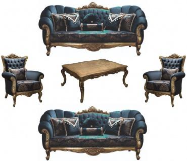 Casa Padrino Luxus Barock Wohnzimmer Set Blau / Gold - 2 Sofas & 2 Sessel & 1 Couchtisch - Wohnzimmer Möbel - Edel & Prunkvoll
