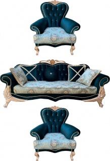 Casa Padrino Luxus Barock Wohnzimmer Set mit elegantem Blumenmuster und Glitzersteinen Türkis / Grün / Creme - 1 Sofa & 2 Sessel - Prunkvolle Barock Wohnzimmer Möbel