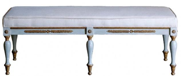 Casa Padrino Luxus Barock Sitzbank Blaugrau / Gold / Beige 153 x 58 x H. 52 cm - Barock Wohnzimmermöbel - Vorschau
