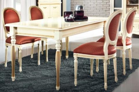 Casa Padrino Luxus Barock Esszimmer Set Creme / Gold / Orange - Ausziehbarer Küchentisch mit 6 Esszimmerstühlen - Esszimmermöbel im Barockstil