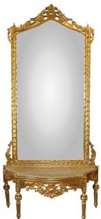 Casa Padrino Barock Spiegelkonsole - Garderobenkonsole Gold mit Marmorplatte und mit schönen Barock Verzierungen auf dem Spiegelglas Mod8 - Antik Look