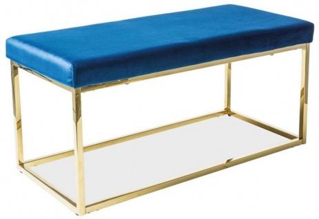 Casa Padrino Luxus Sitzbank Blau / Gold 100 x 46 x H. 48 cm - Gepolsterte Samt Bank mit Edelstahl Gestell