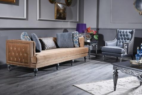 Casa Padrino Luxus Barock Chesterfield Sofa Beige / Silber 250 x 92 x H. 85 cm - Barockmöbel