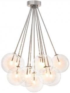 Casa Padrino Luxus Halogen Deckenleuchte Silber Ø 66 x H. 94, 5 cm - Dimmbare Deckenlampe mit runden Glas Lampenschirmen - Luxus Qualität