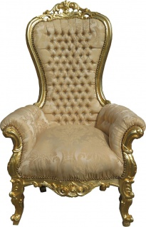 Casa Padrino Barock Thron Sessel Majestic Medium Creme-Gold Muster / Gold Mod2 mit Bling Bling Glitzersteinen - Riesensessel - Thron Stuhl Tron