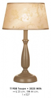 Elegante Barock Hockerleuchte Durchmesser 25cm, Höhe 44cm T1908 Taupe + 3525 Milk Leuchte Lampe