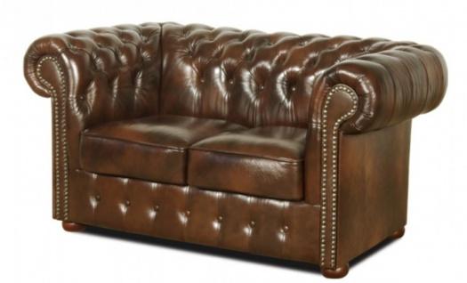 Casa Padrino Echtleder 2er Sofa Dunkelbraun 160 x 90 x H. 78 cm - Luxus Qualität - Vorschau 2