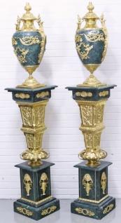 Casa Padrino Barock Vasen mit Marmor Säulen Set Blau / Gold 30 x 30 x H. 180 cm - Edel & Prunkvoll - Vorschau 3