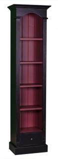 Casa Padrino Landhausstil Regalschrank Antik Schwarz / Brombeerfarben 50 x 33 x H. 190 cm - Landhausstil Kollektion