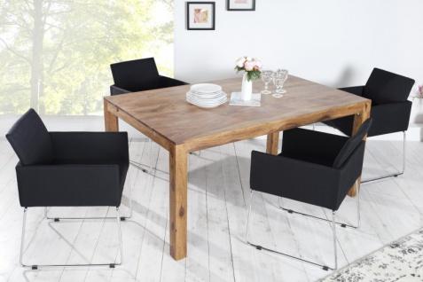 Casa Padrino Designer Stuhl mit Armlehnen Schwarz 55cm x 80cm x 60cm - Büromöbel - Vorschau 3