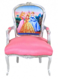Casa Padrino Barock Salon Stuhl Prinzessin Rosa / Silber - Limited Edition